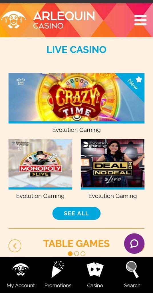 Arlequin mobile casino