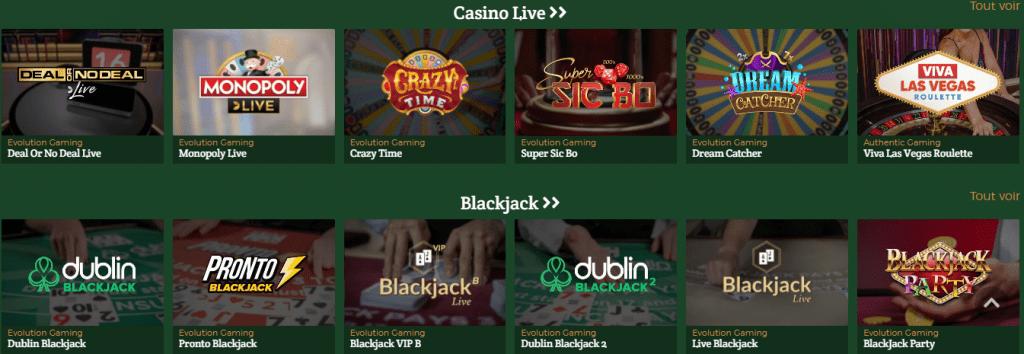 Dublinbet Casino live games