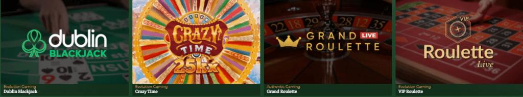 Jeux en direct du Dublinbet Casino